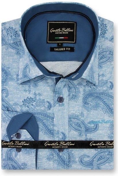 Heren Overhemd - Jacquard Paisley - Blauw