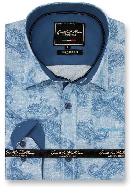 Heren Overhemd - Jacquard Paisley - Blauw-1