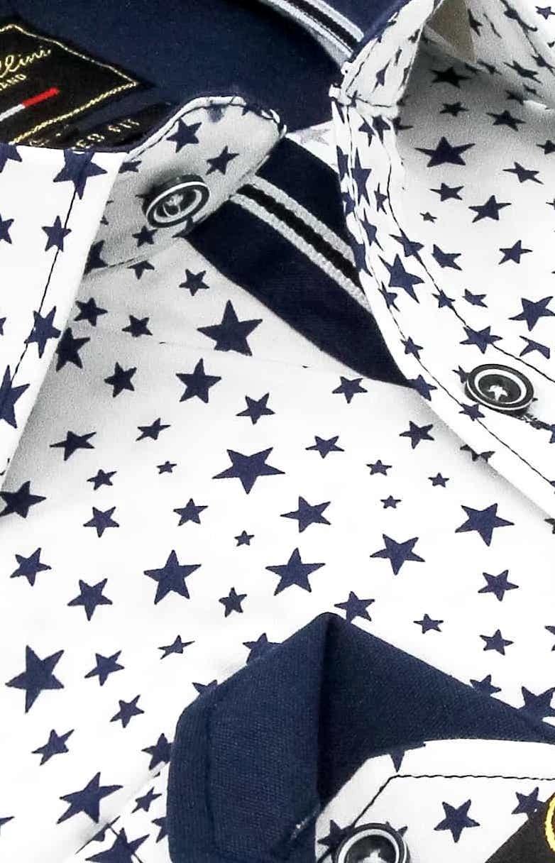 Heren Overhemd - Universe Stars - Wit-2