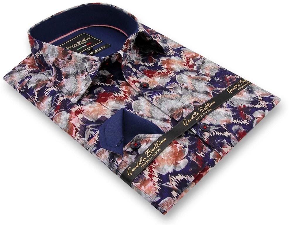 Heren Overhemd - Painting Artwork - Blauw-3