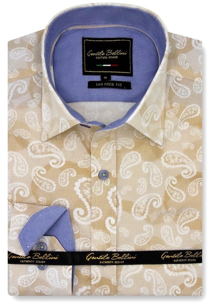Heren Overhemd - Luxury Paisley - Beige-1