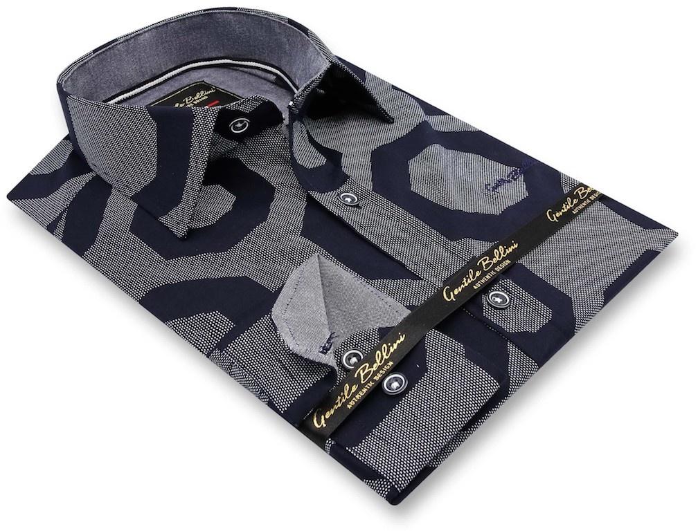 Heren Overhemd - Regular Octagon - Blauw-3