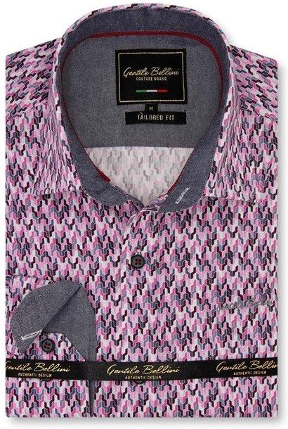 Heren Overhemd - Tetris Mosaik - Roze