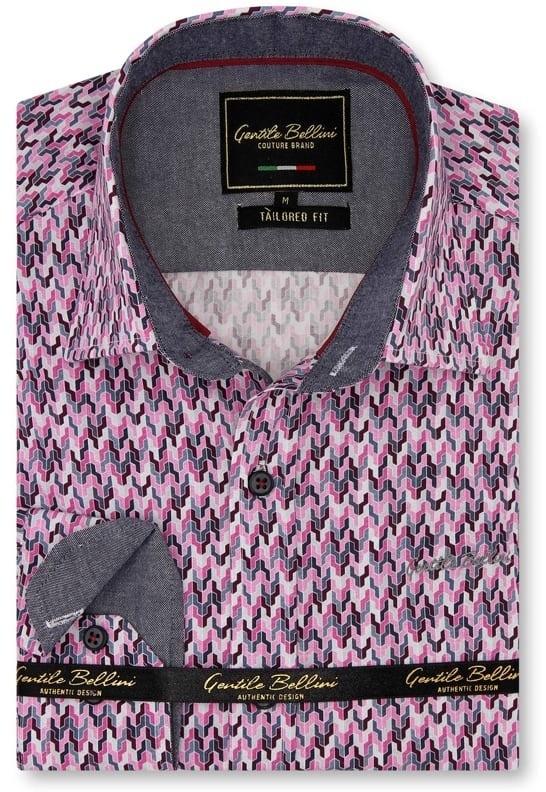 Heren Overhemd - Tetris Mosaik - Roze-1
