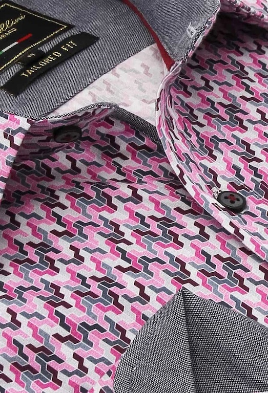 Heren Overhemd - Tetris Mosaik - Roze-2