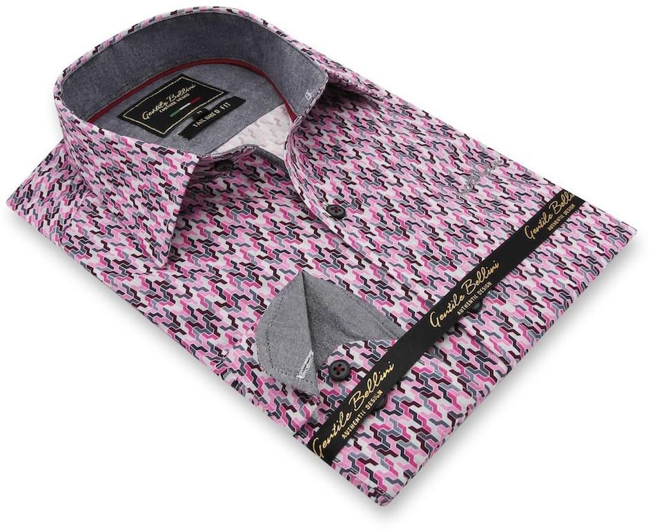 Heren Overhemd - Tetris Mosaik - Roze-3