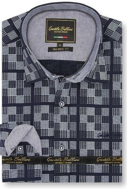 Heren Overhemd - Chess Board - Blauw