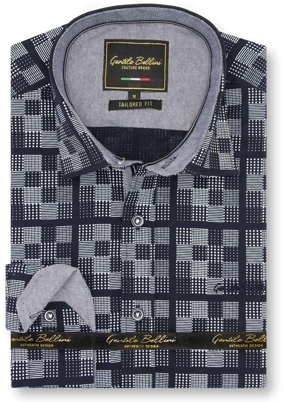 Heren Overhemd - Chess Board - Blauw-1