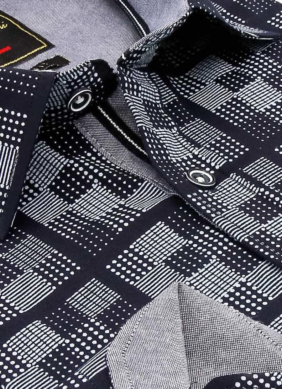 Heren Overhemd - Chess Board - Blauw-2