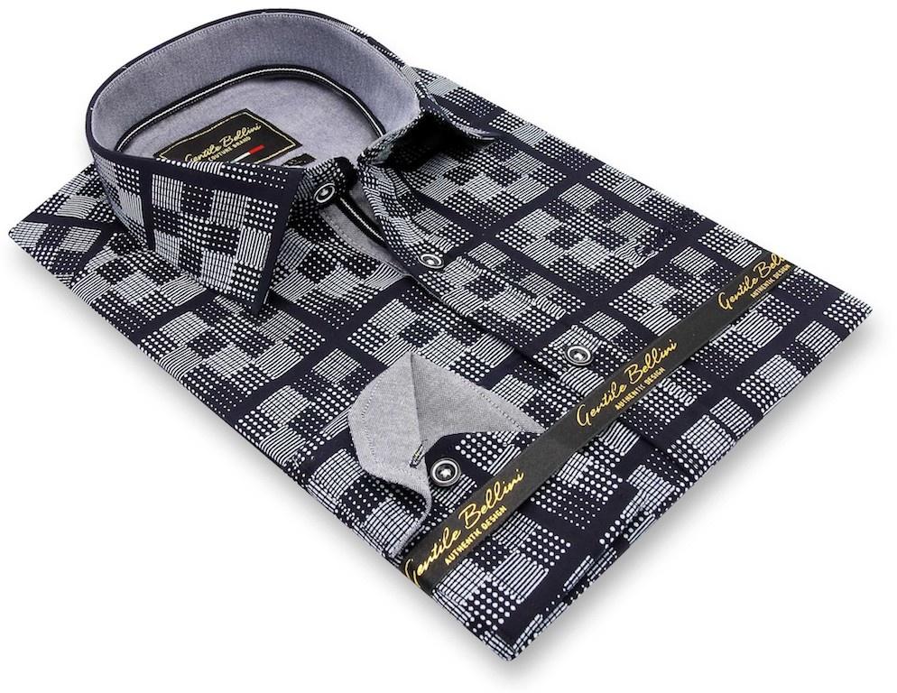 Heren Overhemd - Chess Board - Blauw-3