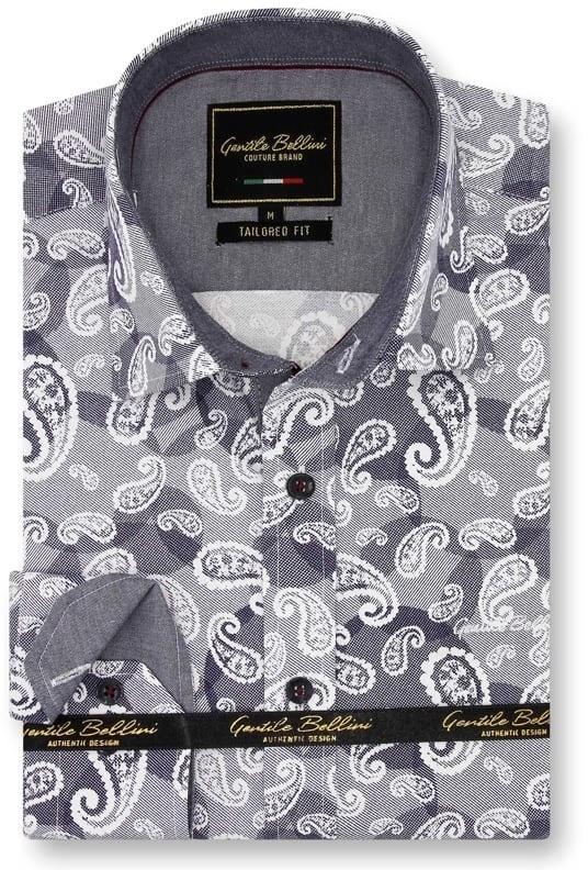 Heren Overhemd - Luxury Paisley - Blauw-1