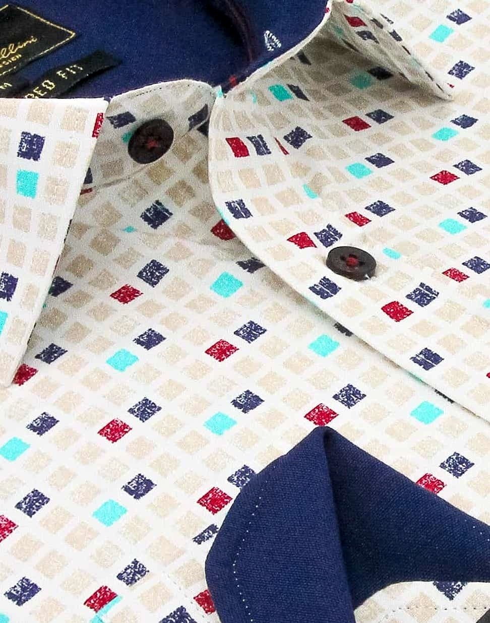 Heren Overhemd - Tetriminos - Beige-2