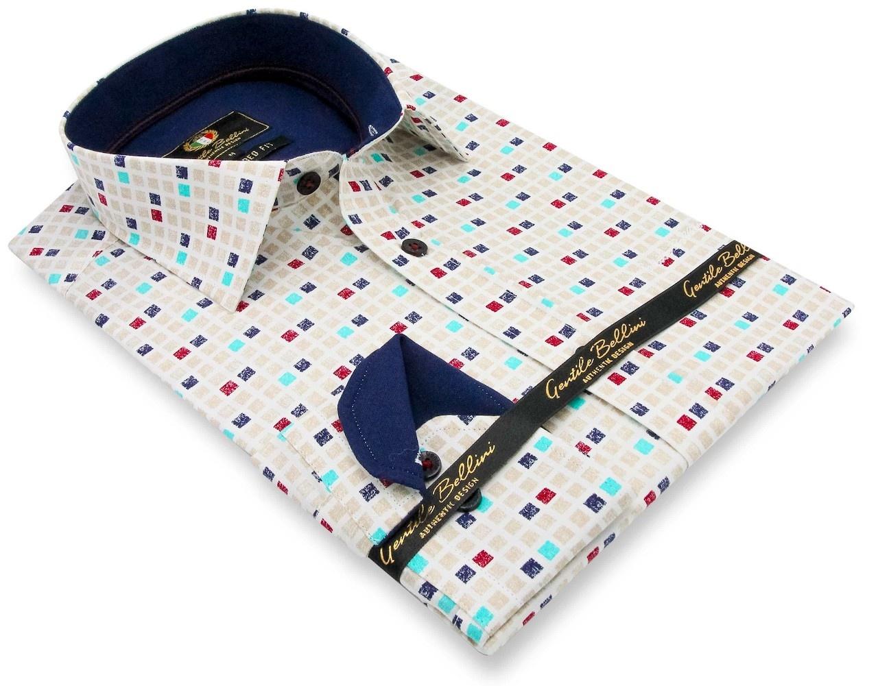 Heren Overhemd - Tetriminos - Beige-3