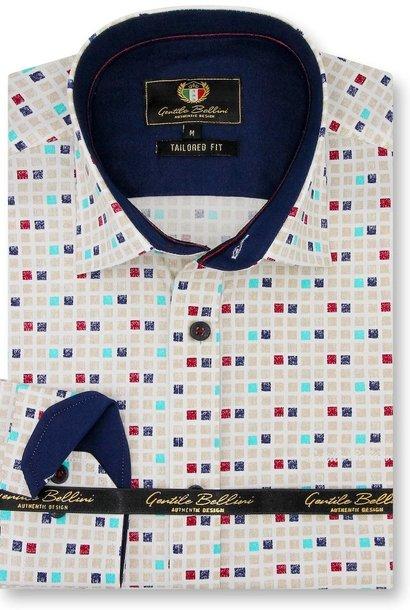 Heren Overhemd - Tetriminos - Beige