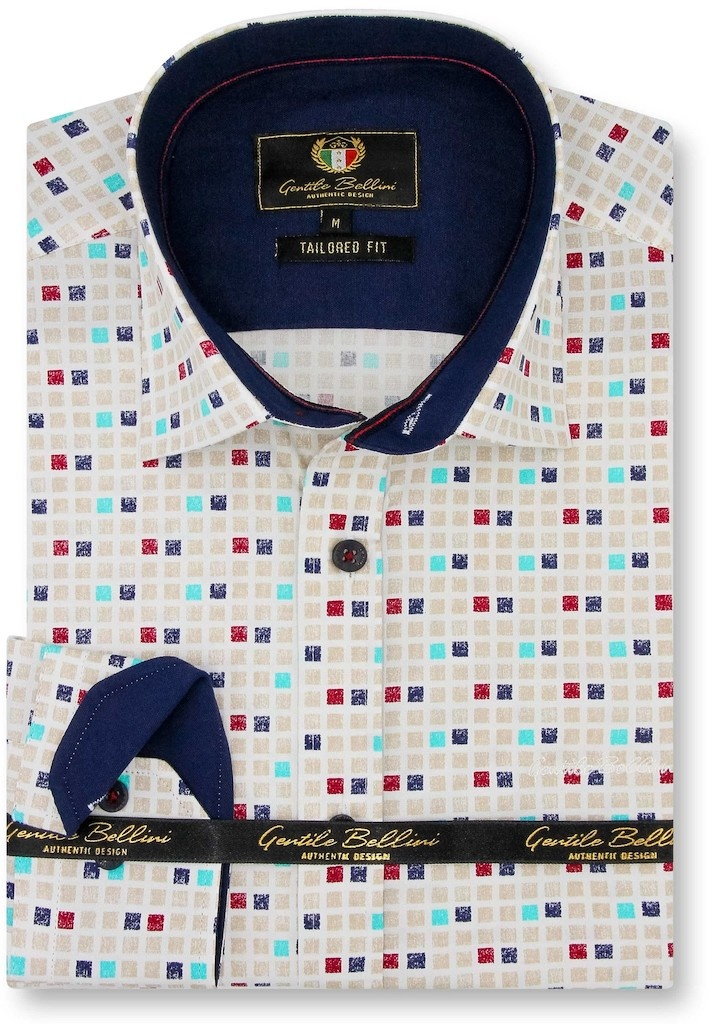 Heren Overhemd - Tetriminos - Beige-1