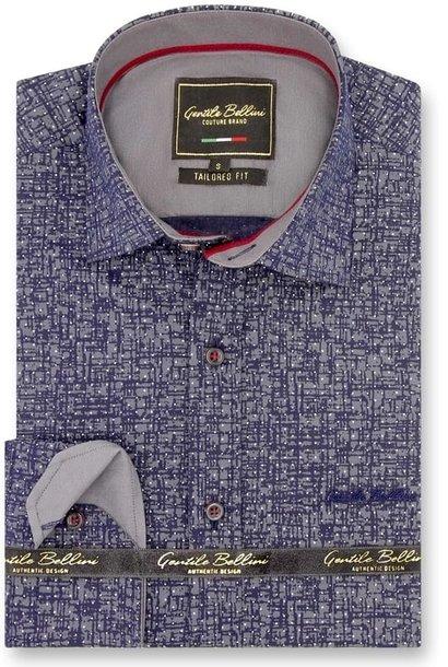 Heren Overhemd - Grunge Texture - Blauw