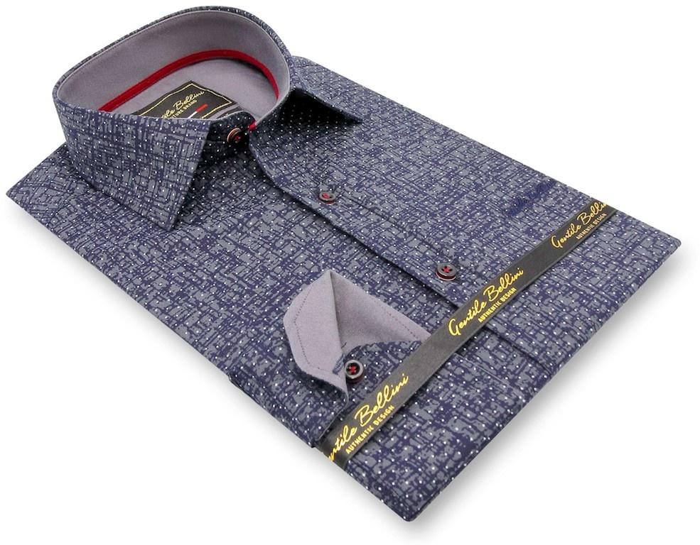 Heren Overhemd - Grunge Texture - Blauw-3