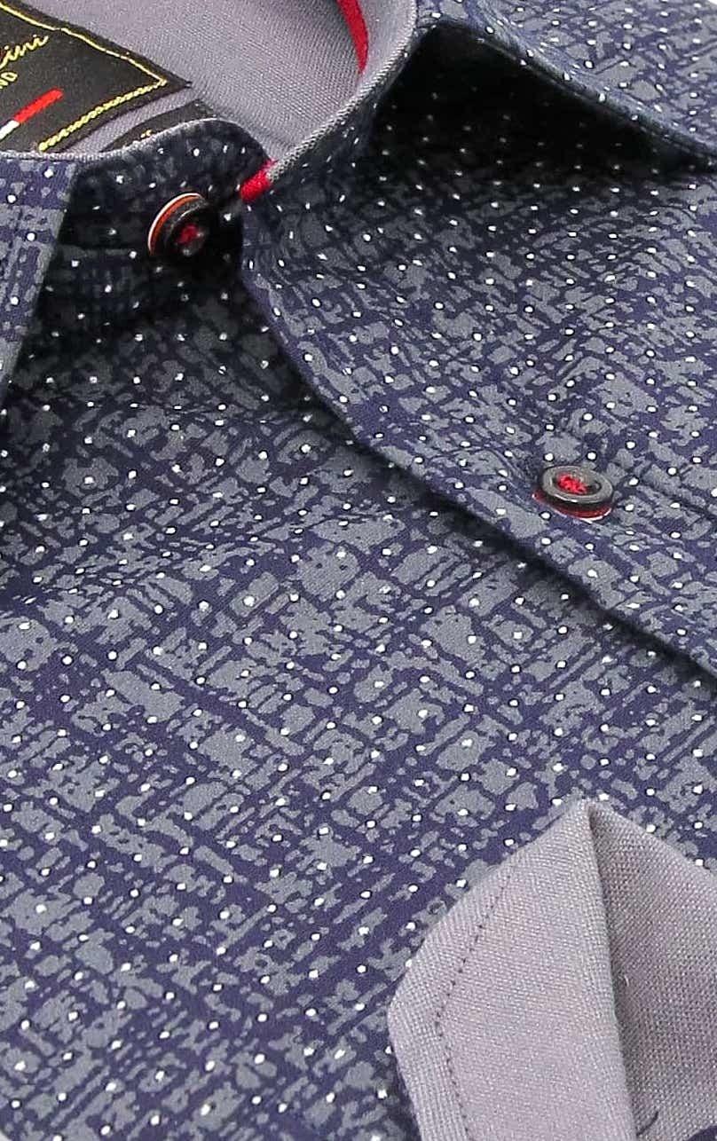 Heren Overhemd - Grunge Texture - Blauw-2