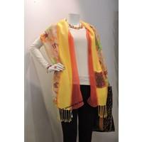 Zijden sjaal geel/oranje