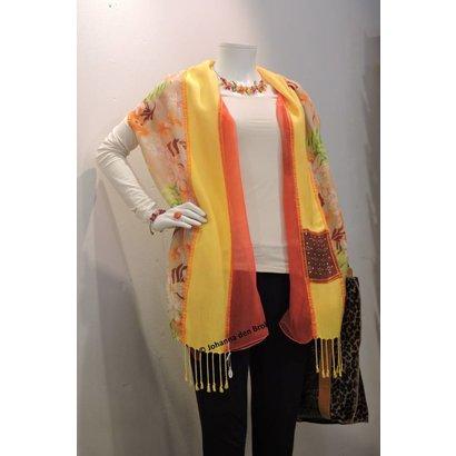 Zijden sjaal geel/oranje - Johanna den Brok