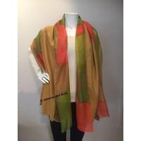 Zijden sjaal groen/oranje