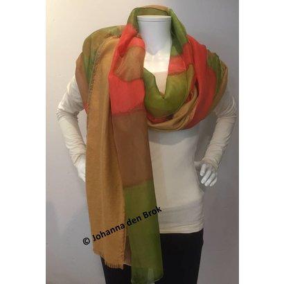 Zijden sjaal groen/oranje - Johanna den Brok