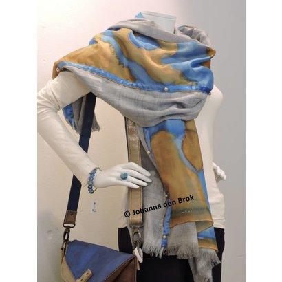 Dubbele zijden sjaal met blauw - Johanna den Brok