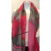 Zijden sjaal met roze en grijs
