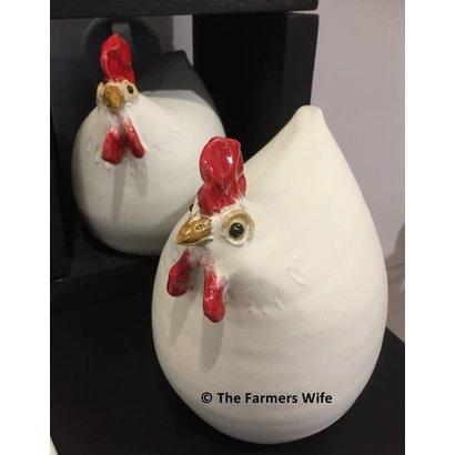 Witte kippen van keramiek - The Farmers Wife