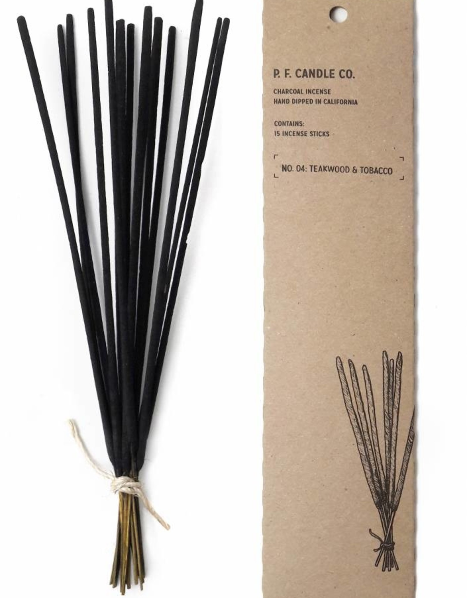 P.F.Candle & Co Teakwood and Tobacco No 4 Charcoal Incense Sticks