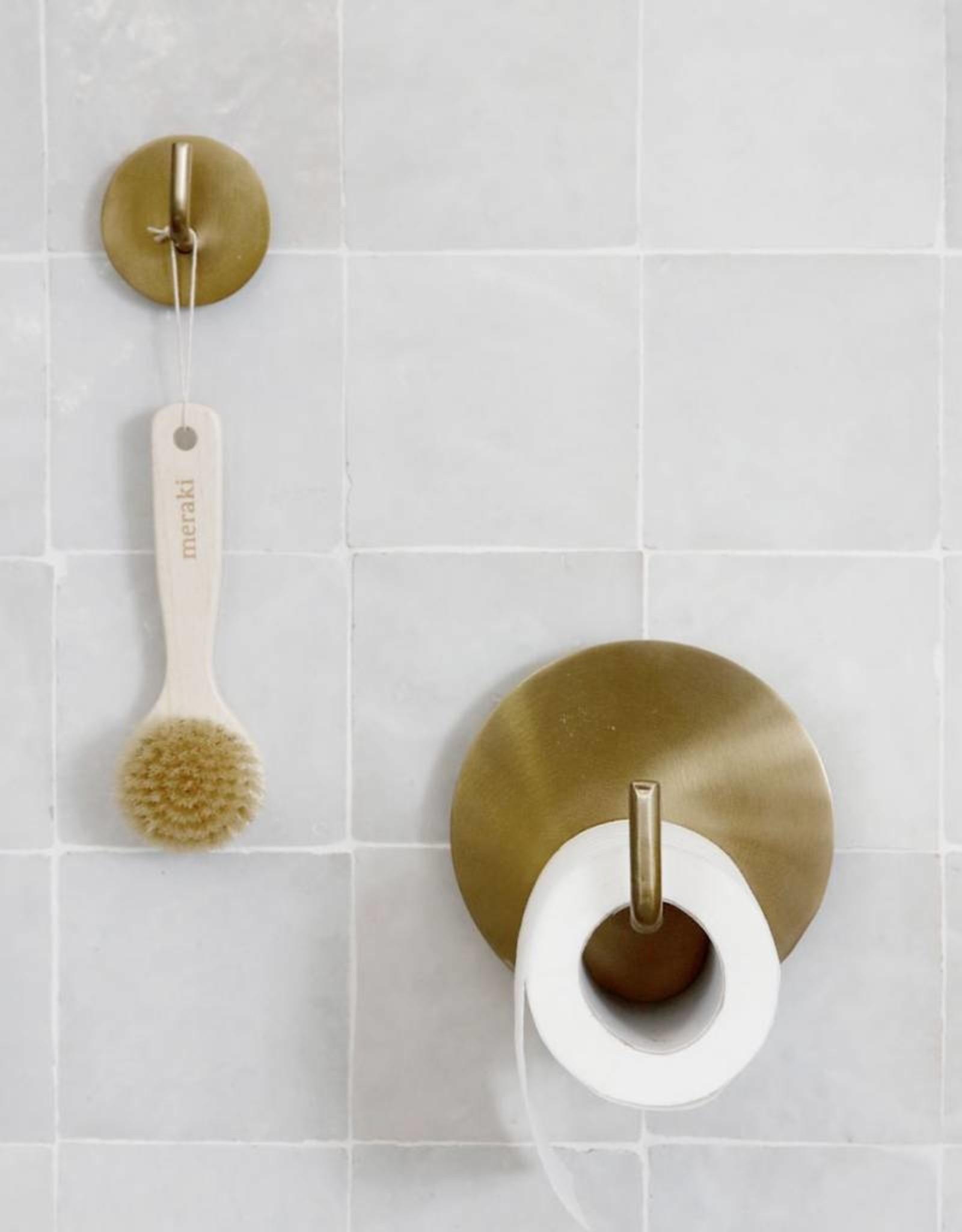 House Doctor Brass Text Toilet Roll Holder / hook