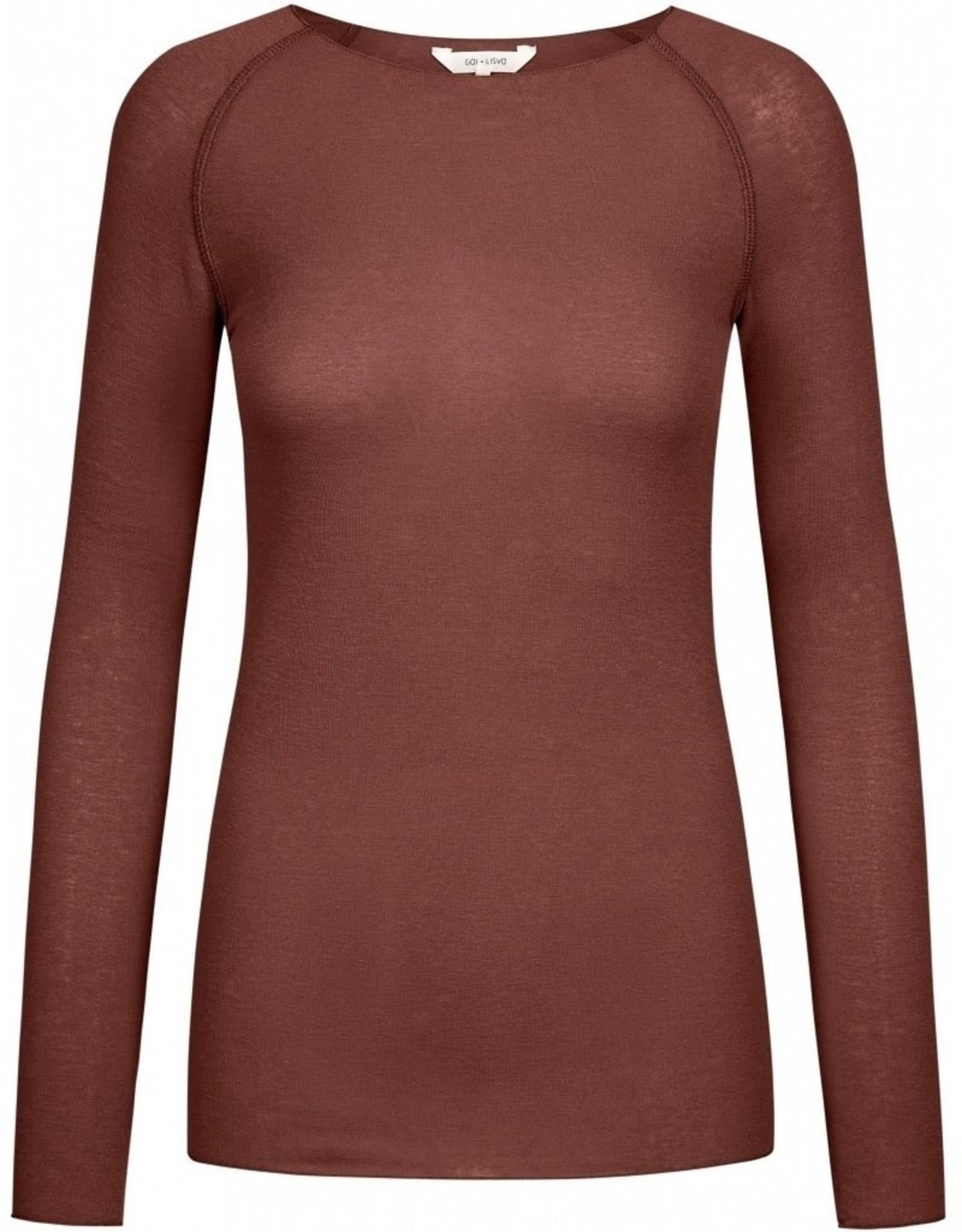 Gai&Lisva Amalie shirt wol/viscose Marron