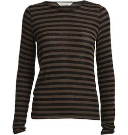 Gai&Lisva Amalie shirt wol/viscose bruin-zwart