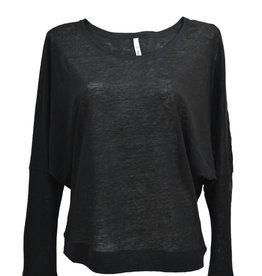 Stef-I BAT-sleeve top linnen zwart
