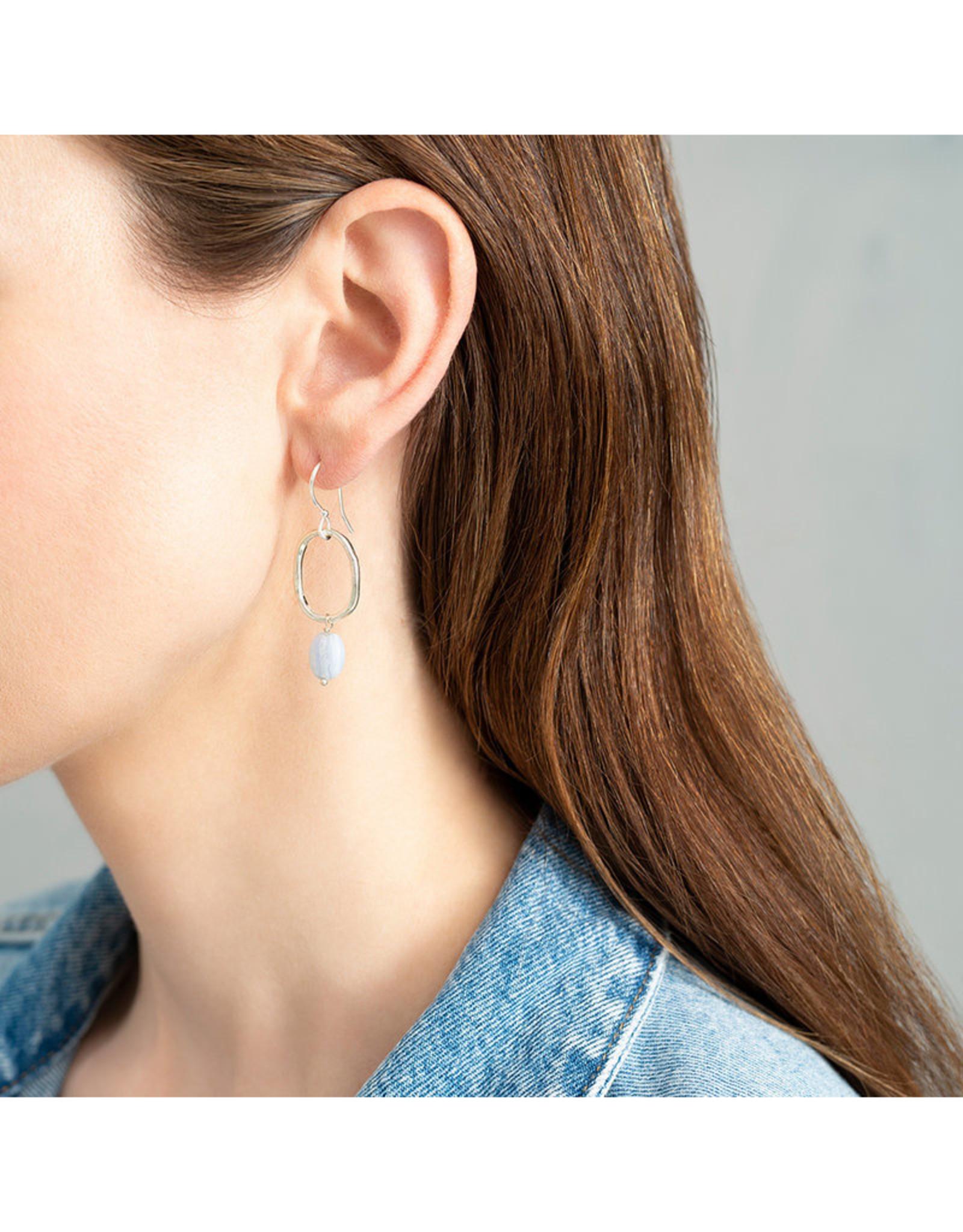 A Beautiful Story Earrings 'Graceful' - Blue Agate