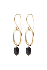 A Beautiful Story Oorbellen 'Graceful' - Black Onyx goud