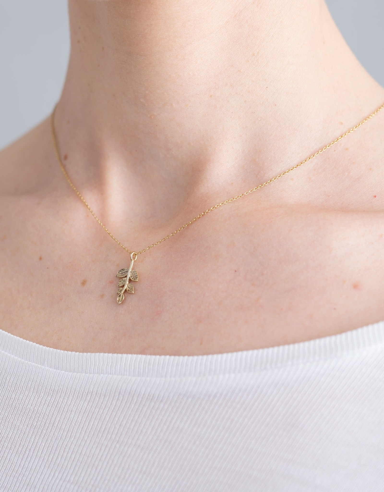 A Beautiful Story Necklace 'Delicate Olive Branch' - Gold