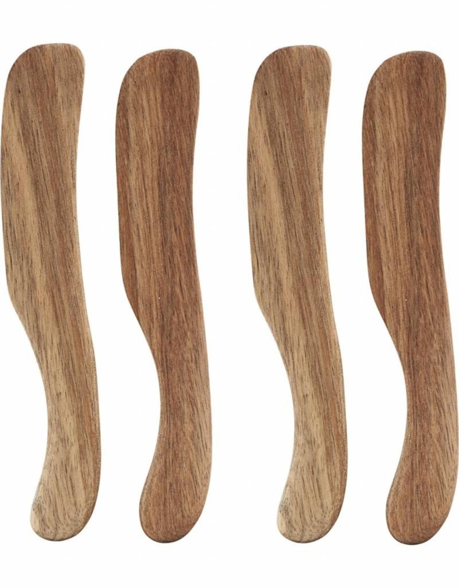 Nicolas Vahe Set of 4 Acacia Wood Butter Knives