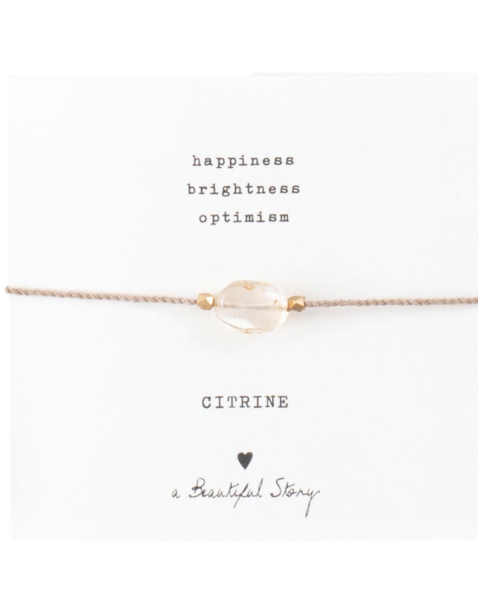 A Beautiful Story Armband 'Gemstone Card' - Citrine