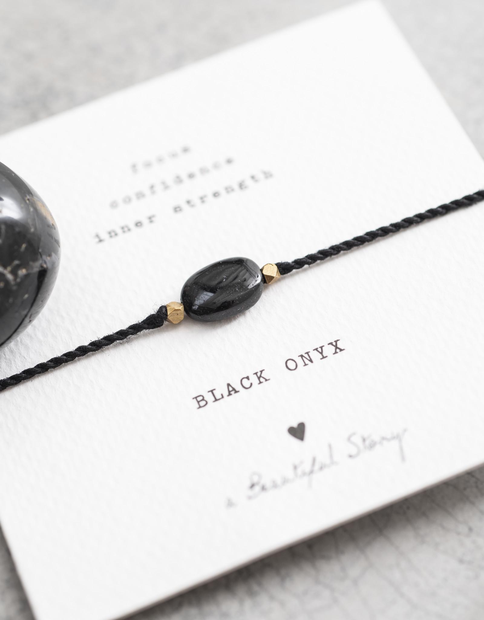 A Beautiful Story Armband 'Gemstone Card' - Black Onyx