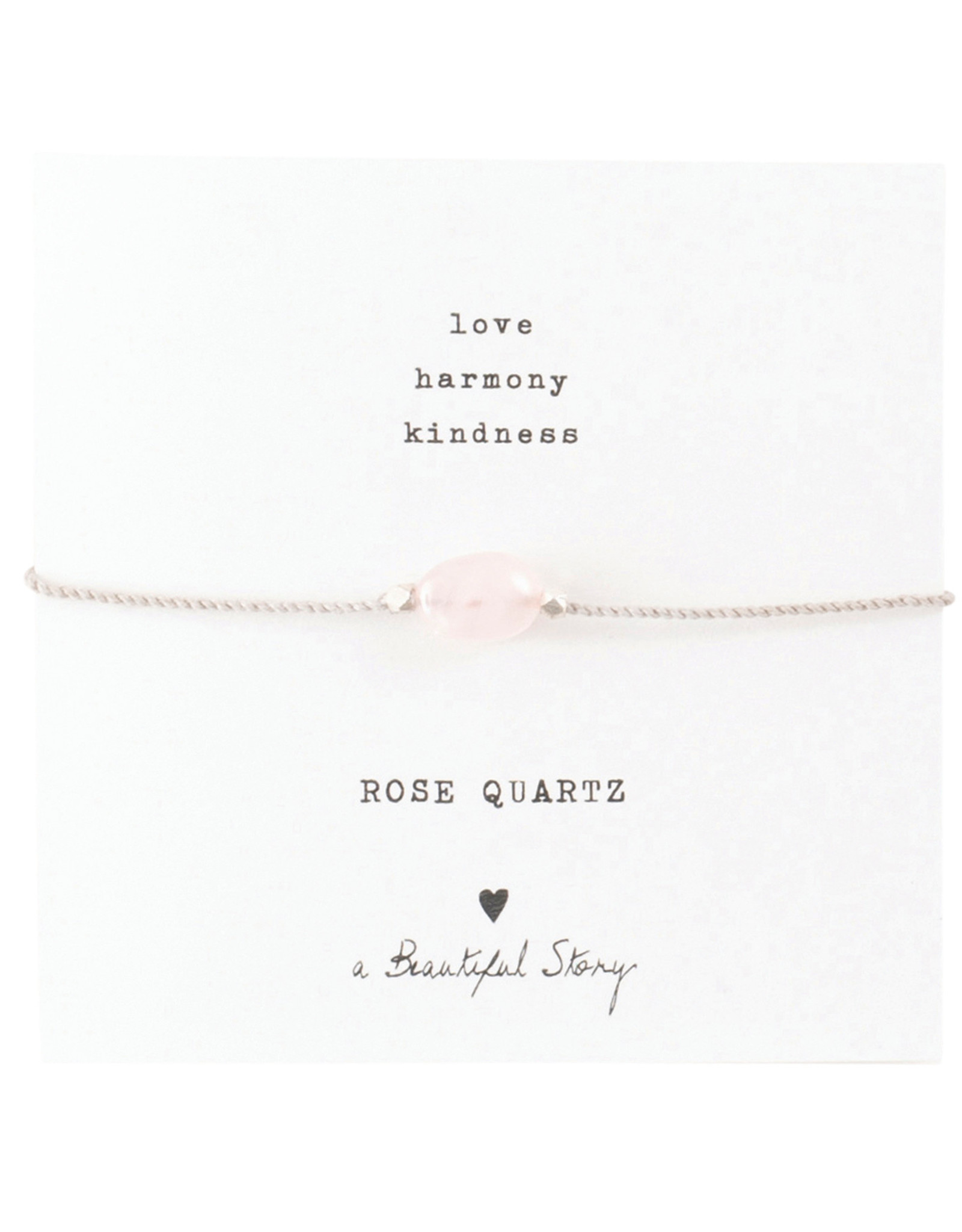 A Beautiful Story Armband 'Gemstone Card' - Rose Quartz