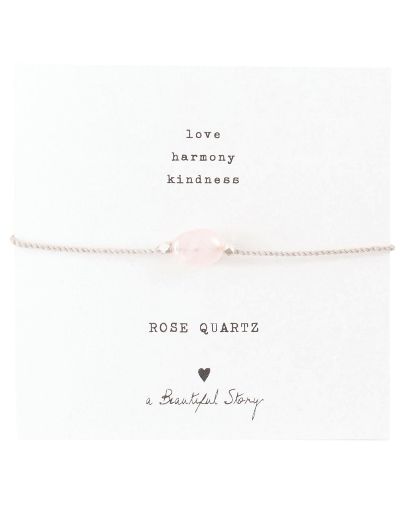 A Beautiful Story Bracelet 'Gemstone Card' - Rose Quartz