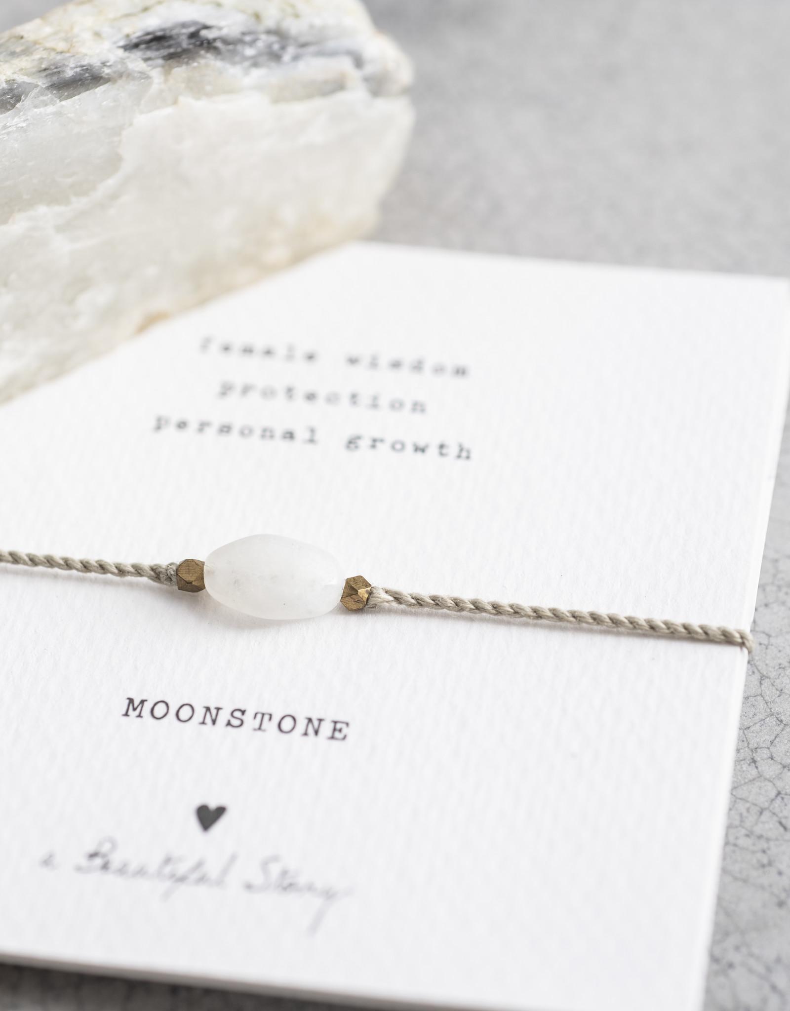 A Beautiful Story Armband 'Gemstone Card' - Moonstone
