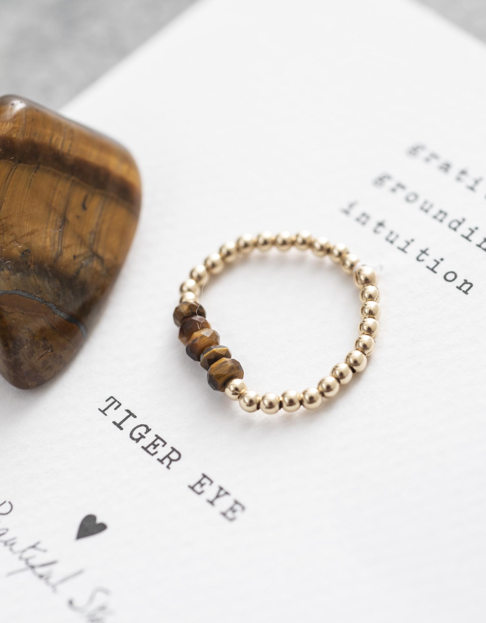 A Beautiful Story Ring 'Beauty' - Tiger Eye Goud