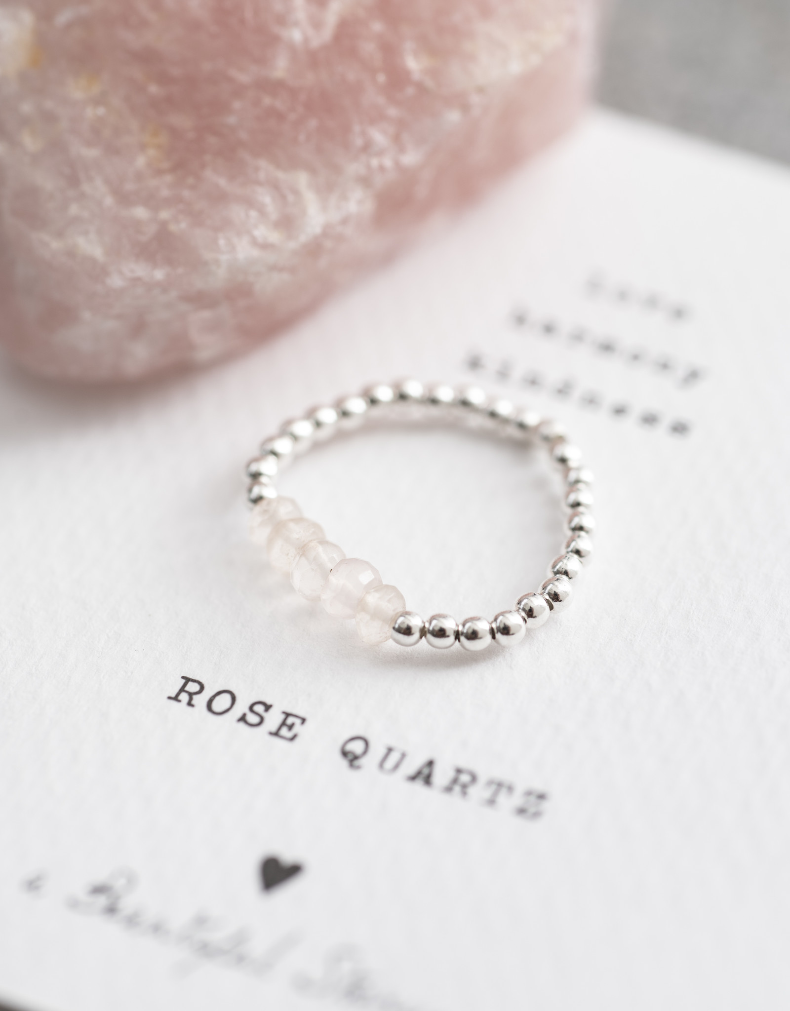 A Beautiful Story Ring 'Beauty' - Rose Quartz Silver