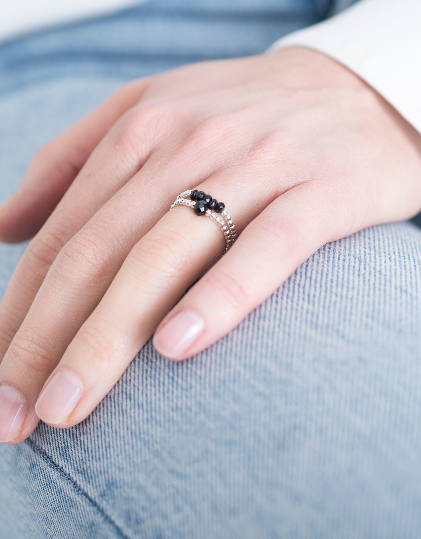 A Beautiful Story Ring 'Beauty' - Black Onyx Zilver