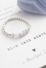 A Beautiful Story Ring 'Beauty' - Blue Lace Agate Zilver