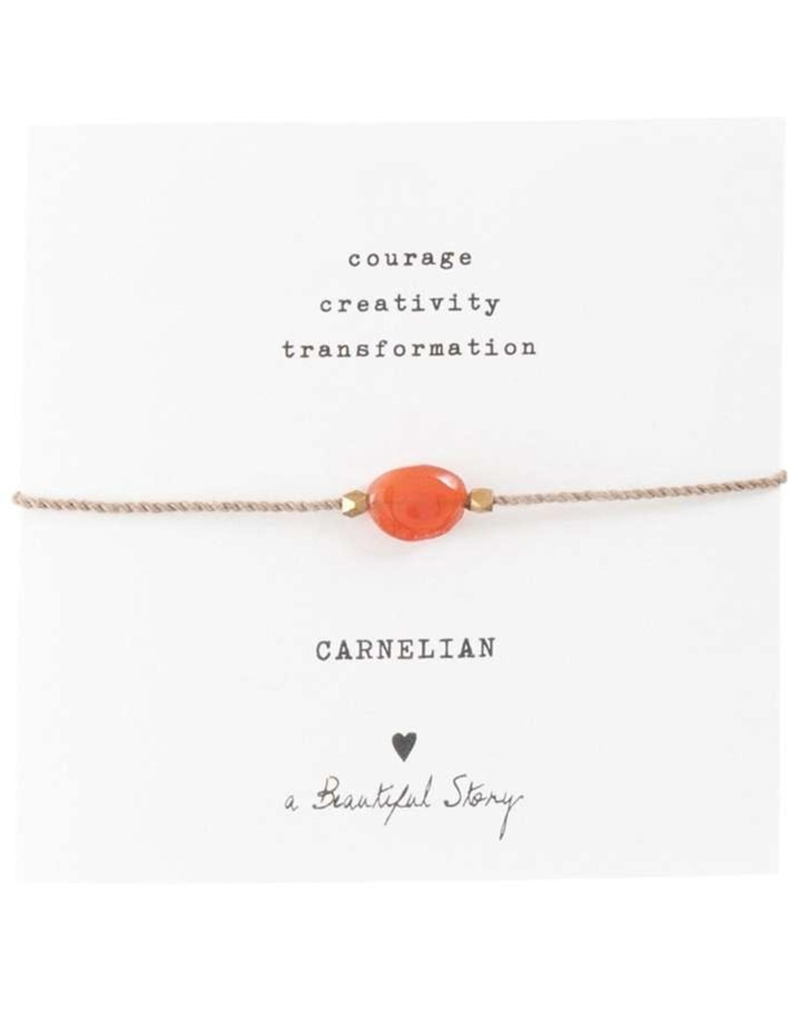 A Beautiful Story Armband 'Gemstone Card' - Carnelian Gold