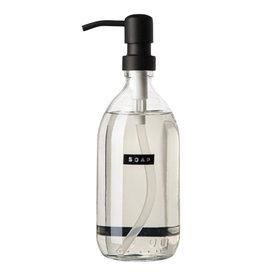 Wellmark Handzeep linnen - 500ml  helder glas / zwarte dop