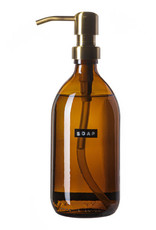 Wellmark Handzeep bamboo - Bruin glas / brass dop